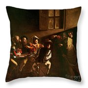 The Calling Of St Matthew Throw Pillow by Michelangelo Merisi o Amerighi da Caravaggio