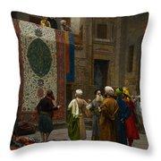 The Carpet Merchant Throw Pillow by Jean Leon Gerome