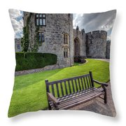 The Castle Bench Throw Pillow by Adrian Evans