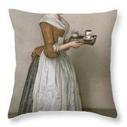 The Chocolate Girl Throw Pillow by Jean-Etienne Liotard