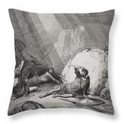 The Conversion Of St. Paul Throw Pillow by Gustave Dore