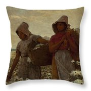 The Cotton Pickers Throw Pillow by Winslow Homer