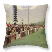 The Course At Longchamps Throw Pillow by Jean Beraud