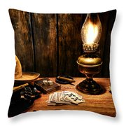 The Cowboy Nightstand Throw Pillow by Olivier Le Queinec