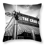 The Crab Cooker Newport Beach Black And White Photo Throw Pillow by Paul Velgos