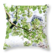 The Crow And The Eiffel Tower Throw Pillow by Olivier Le Queinec
