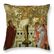 The Crucifixion Of Our Lord Throw Pillow by Novgorod School