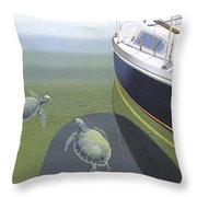 The Curiosity Of Sea Turtles Throw Pillow by Gary Giacomelli