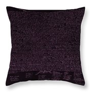 The Declaration Of Independence In Negative Pink Throw Pillow by Rob Hans