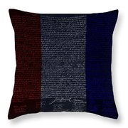 The Declaration Of Independence In Negative R W B Throw Pillow by Rob Hans