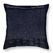 The Declaration Of Independence In Negative Red White And Blue Throw Pillow by Rob Hans