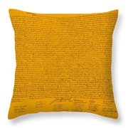 The Declaration Of Independence In Orange Throw Pillow by Rob Hans