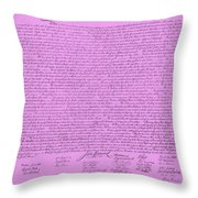 The Declaration Of Independence In Pink Throw Pillow by Rob Hans