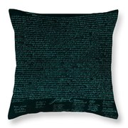 The Declaration Of Independence In Turquoise Throw Pillow by Rob Hans