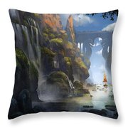 The Dragon Land Throw Pillow by Kristina Vardazaryan