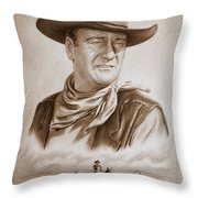 The Duke Captured Sepia Grain Throw Pillow by Andrew Read
