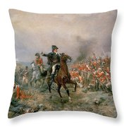 The Duke Of Wellington At Waterloo Throw Pillow by Robert Alexander Hillingford