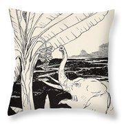 The Elephant's Child Going To Pull Bananas Off A Banana-tree Throw Pillow by Joseph Rudyard Kipling