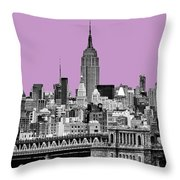 The Empire State Building Pantone African Violet Light Throw Pillow by John Farnan