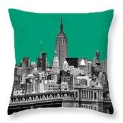 The Empire State Building Pantone Emerald Throw Pillow by John Farnan