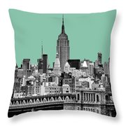 The Empire State Building Pantone Jade Throw Pillow by John Farnan