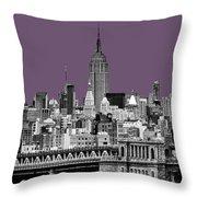 The Empire State Building Plum Throw Pillow by John Farnan