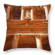 The Facade Of Al Khazneh In Petra Jordan Throw Pillow by Robert Preston