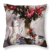 The Famille Rose Coffee Pot Throw Pillow by Francis Campbell Boileau Cadell