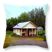 The Famous Cabin Of Fannie Quigley Throw Pillow by Kathy  White