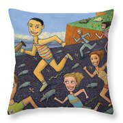 The Finish Line Throw Pillow by James W Johnson