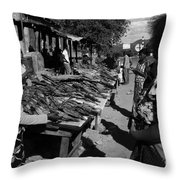 The Fish Market Throw Pillow by Aidan Moran