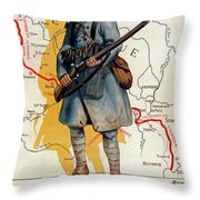 The French Infantry In The Battle Throw Pillow by H Delaspre