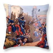 The French Legion Storming A Carlist Throw Pillow by English School