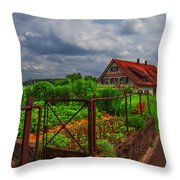 The Garden Gate Throw Pillow by Debra and Dave Vanderlaan