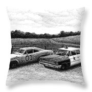 The General Lee and Barney Fife's Police Car Throw Pillow by Janet King