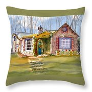 The Gingerbread House Throw Pillow by Kris Parins