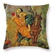 The Good Samaritan After Delacroix 1890 Throw Pillow by Vincent Van Gogh
