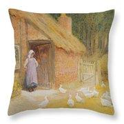 The Goose Girl Throw Pillow by Arthur Claude Strachan