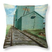 The Grain Elevator Throw Pillow by Anthony Dunphy