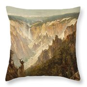 The Grand Canyon Of The Yellowstone Throw Pillow by Thomas Hill