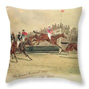 The Grand National Over The Water Throw Pillow by William Verner Longe