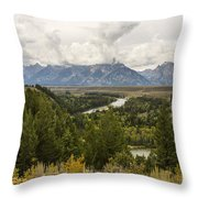 The Grand Tetons Over Snake River - Grand Teton National Park - Wyoming Throw Pillow by Brian Harig