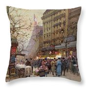 The Great Boulevards Throw Pillow by Eugene Galien-Laloue