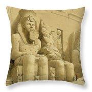The Great Temple Of Abu Simbel Throw Pillow by David Roberts