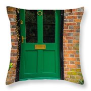 The Green Door Throw Pillow by Mark Llewellyn