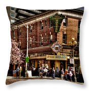 The Green Tortoise Hostel in Seattle Throw Pillow by David Patterson