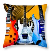 The Guitars Of Jimmy Dence - The Kingpins Throw Pillow by David Patterson