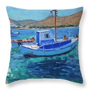 The Harbor  Tinos Throw Pillow by Andrew Macara