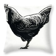The Hen Throw Pillow by George Adamson