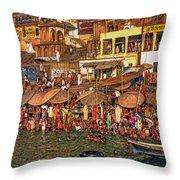 The Holy Ganges Throw Pillow by Steve Harrington